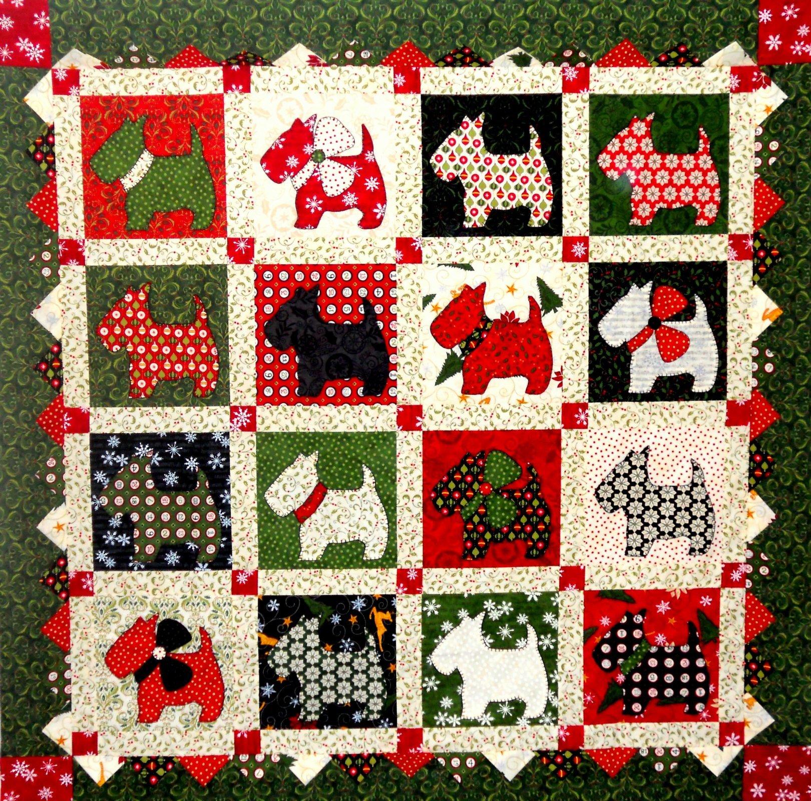 Christmas Scottie Dogs Quilt Kit