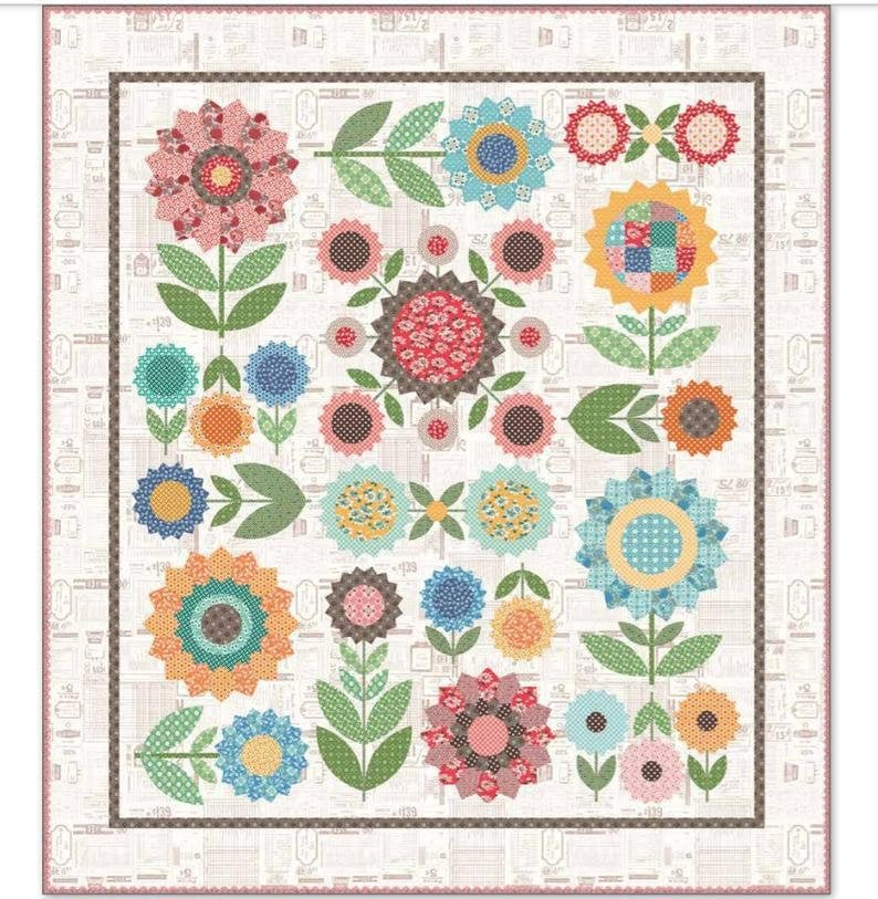 Flea Market Flowers Sew Along Quilt Kit w/Backing