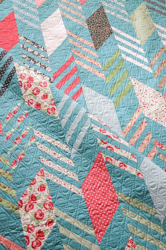Modern Herringbone Quilt Kit (teal) by Vanessa Goertzen of Lella Boutique for Moda Fabrics
