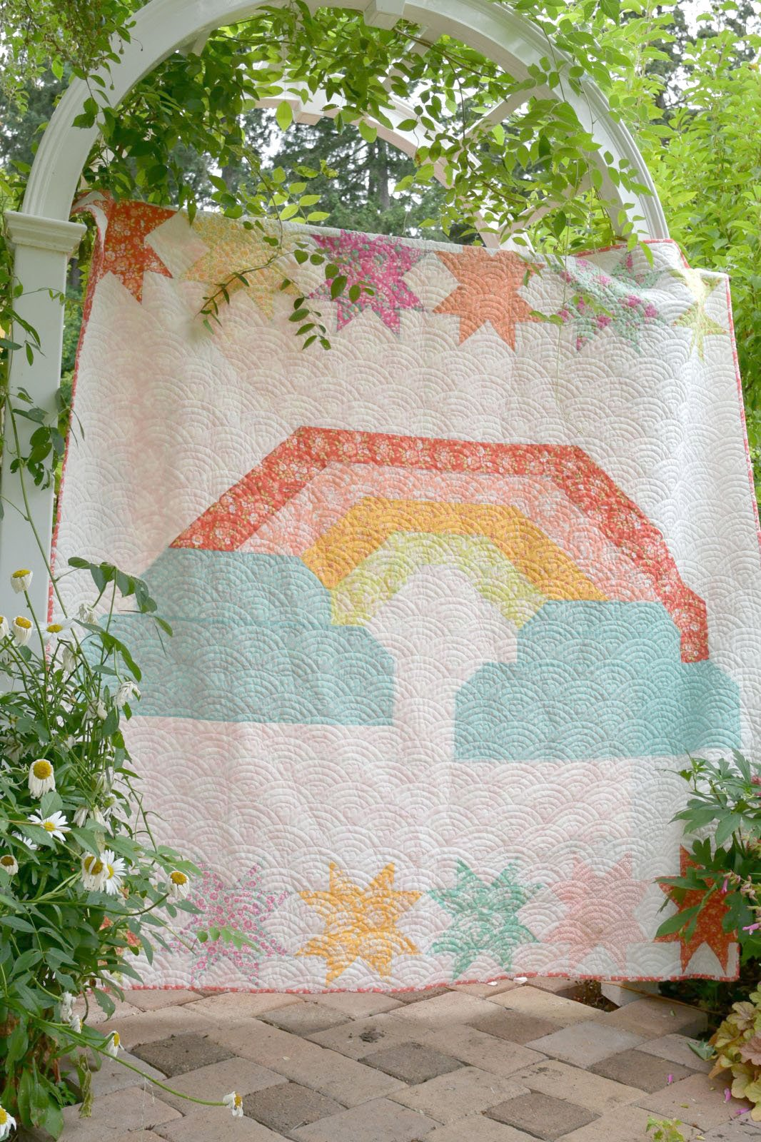 Over the Rainbow Quilt Kit with backing using Canning Day Fabric by Corey Yoder for Moda Fabrics