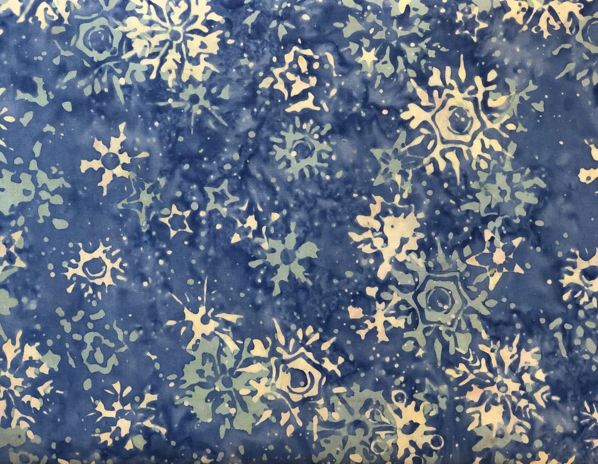 BATIK SNOWFLAKES BLUE/AQUA HS14AD1 Island Batik