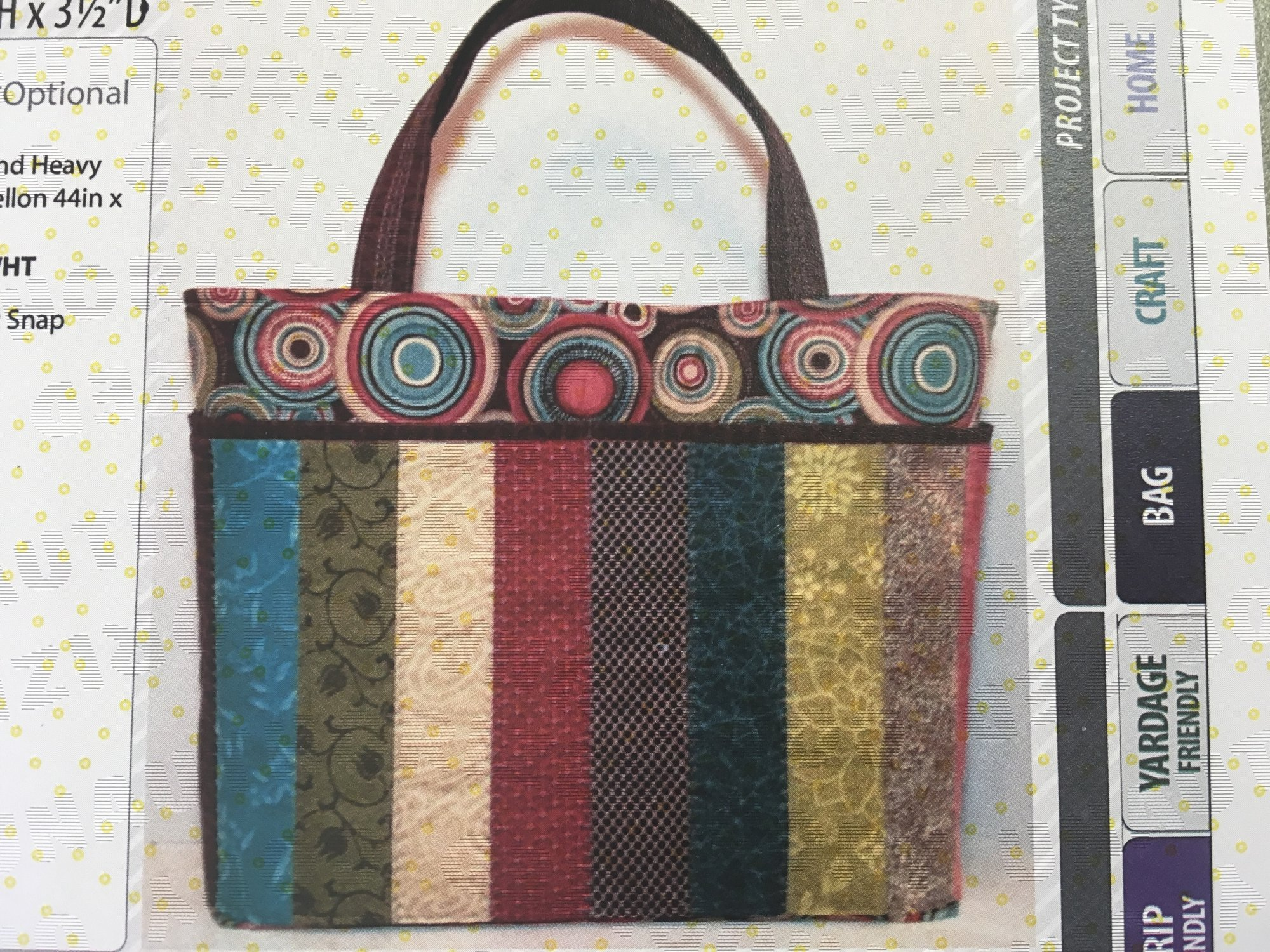 Sew Strippy Tote. CLPCLA036 by Cut Loose Patterns