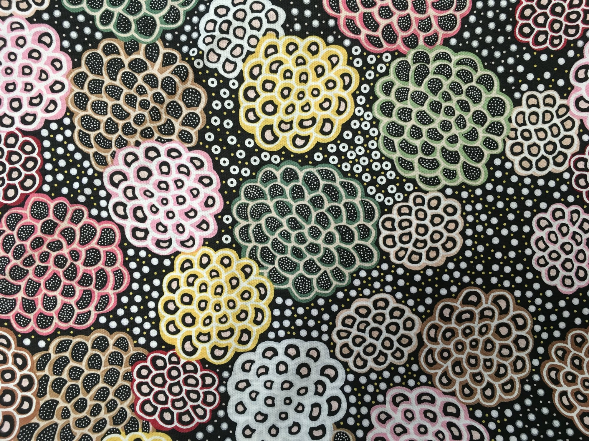 DANCING FLOWERS BLACK DAFB By M&S Textiles
