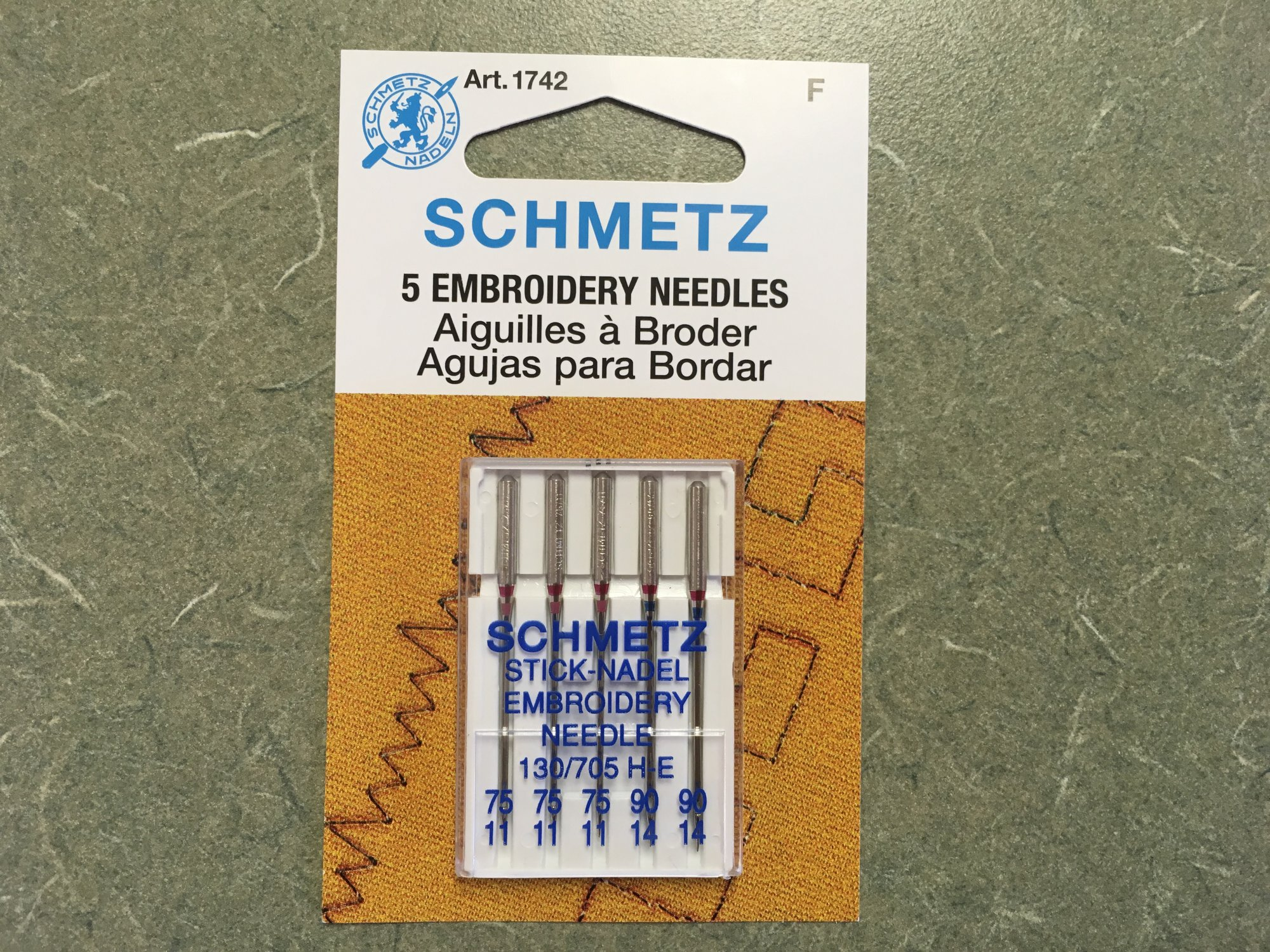 Embroidery Needles 75/11 and 90/14 Assortment. (5 pk). 1742