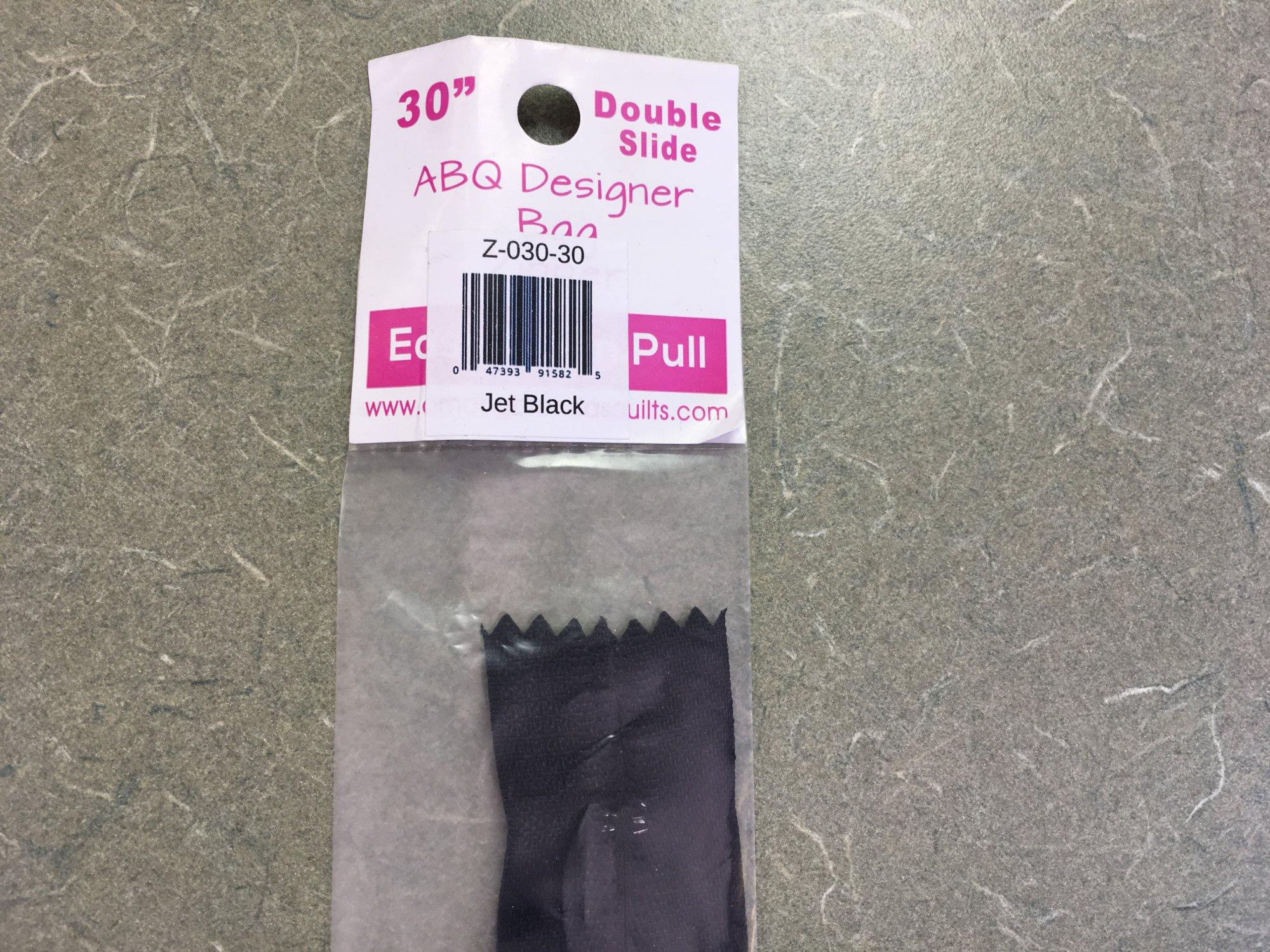 30 inch Double Slide ABQ Designer Bag Zipper Jet Black