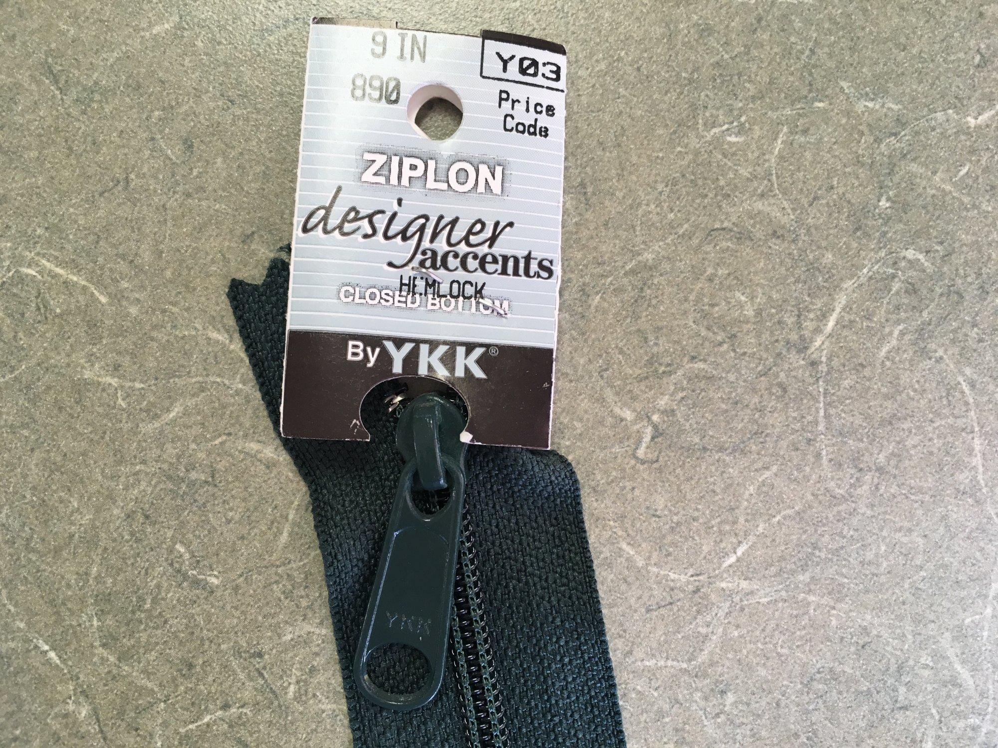 9 inch Hemlock Y03 Designer Accents Zipper