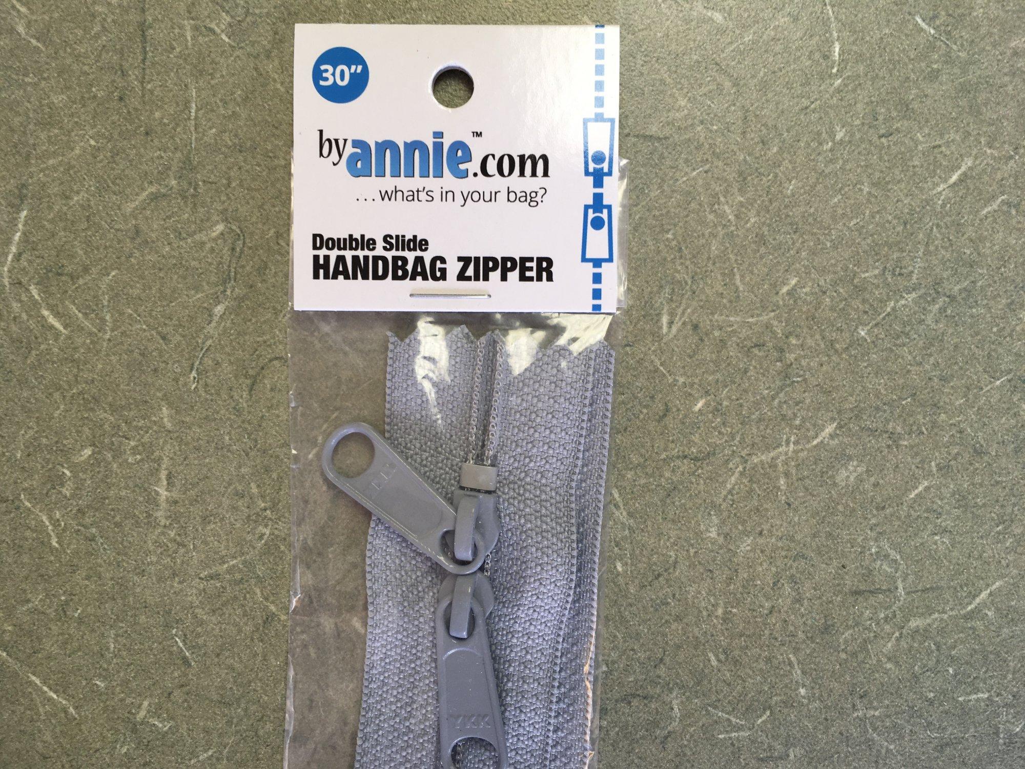 30 inch Pewter Double Slide Zipper