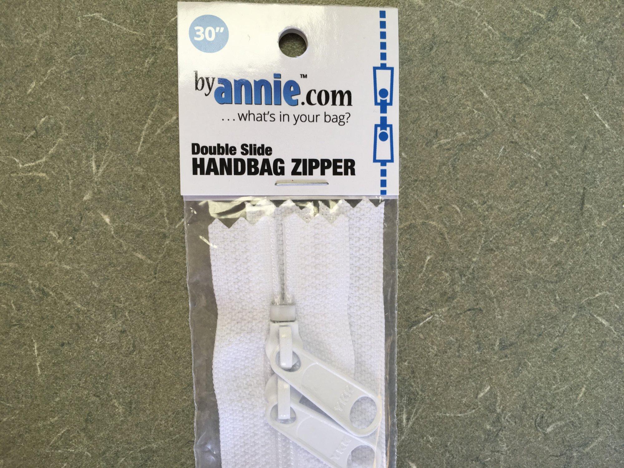 30 inch White Double Slide Zipper