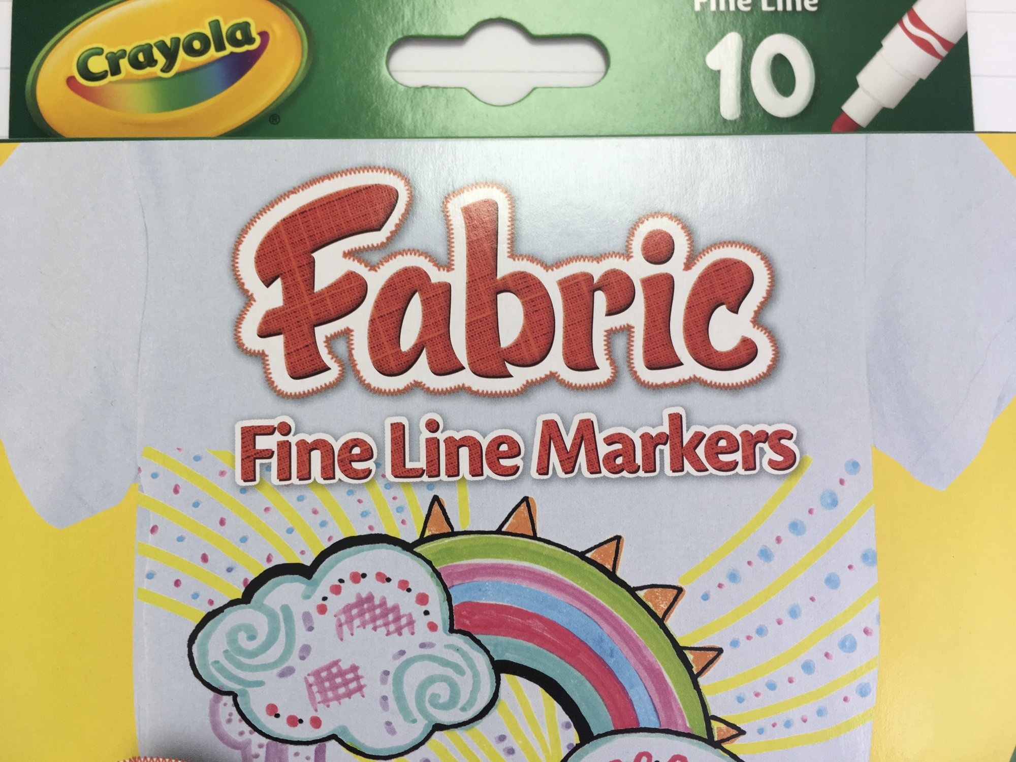 Crayola Fabric Fine Line Markers (10) L6T09
