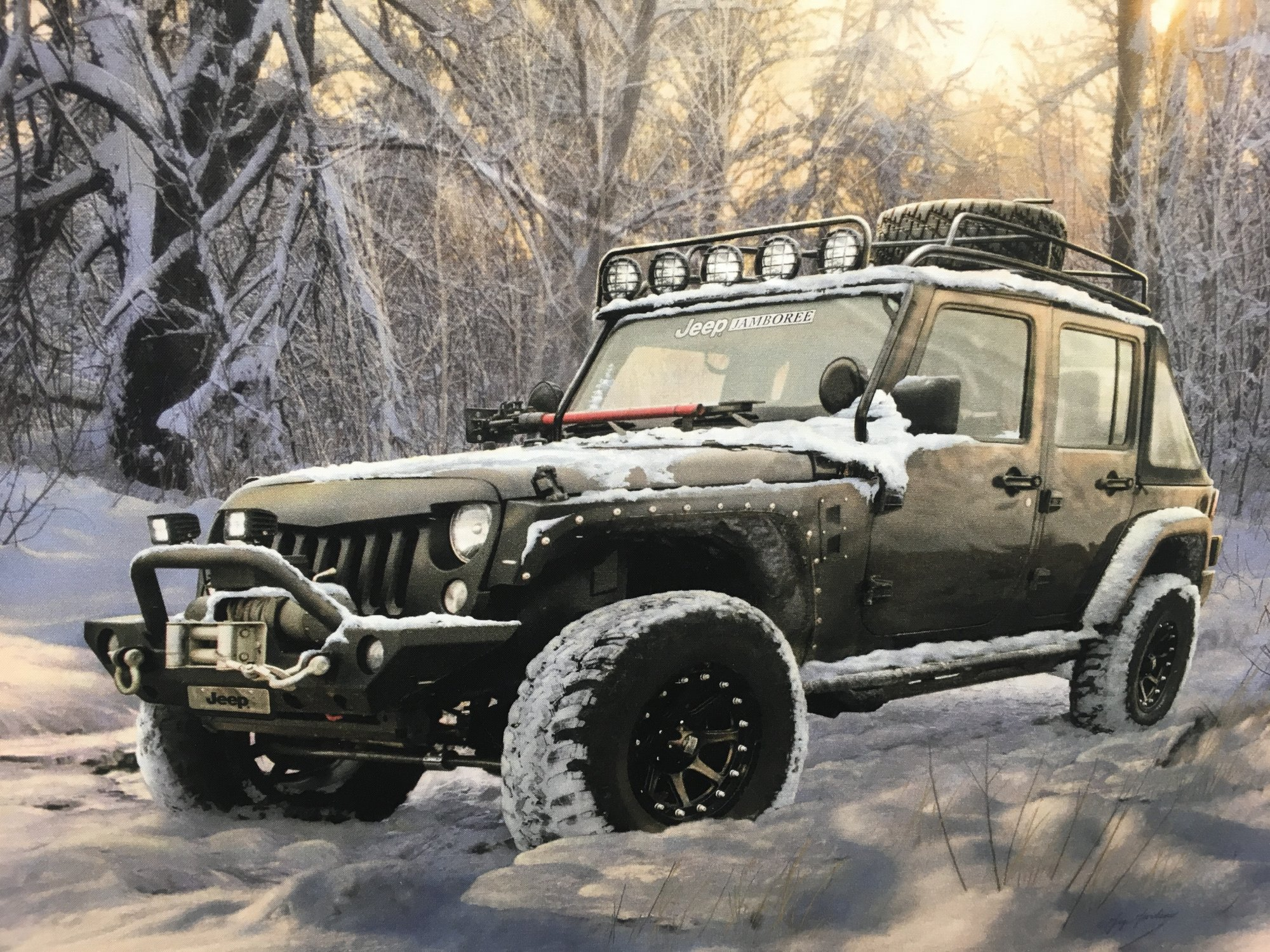 JEEP IN THE WILD BLACK PANEL LARGE  P7734 48 X 44 INCHES