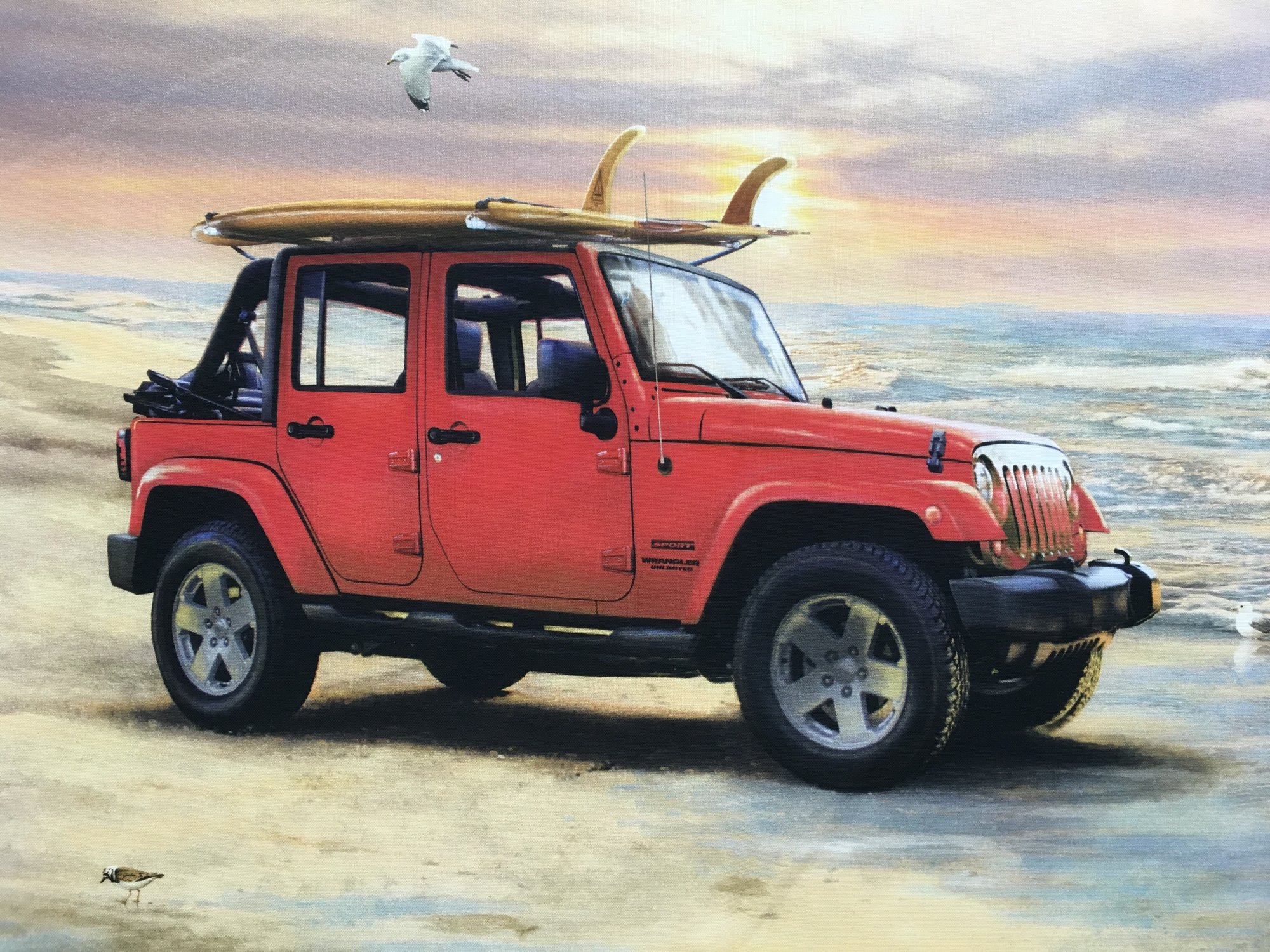 JEEP IN THE WILD RED PANEL LARGE P7733 48 X 44 INCHES