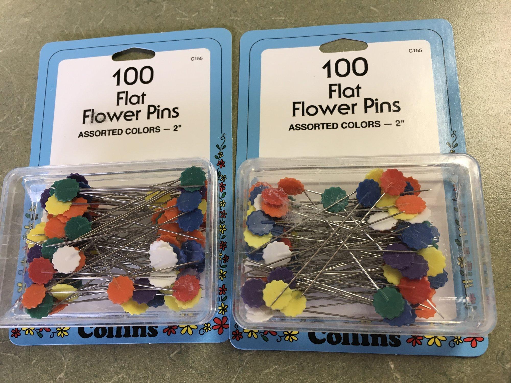 100 Flat Flower Pins 2 inch