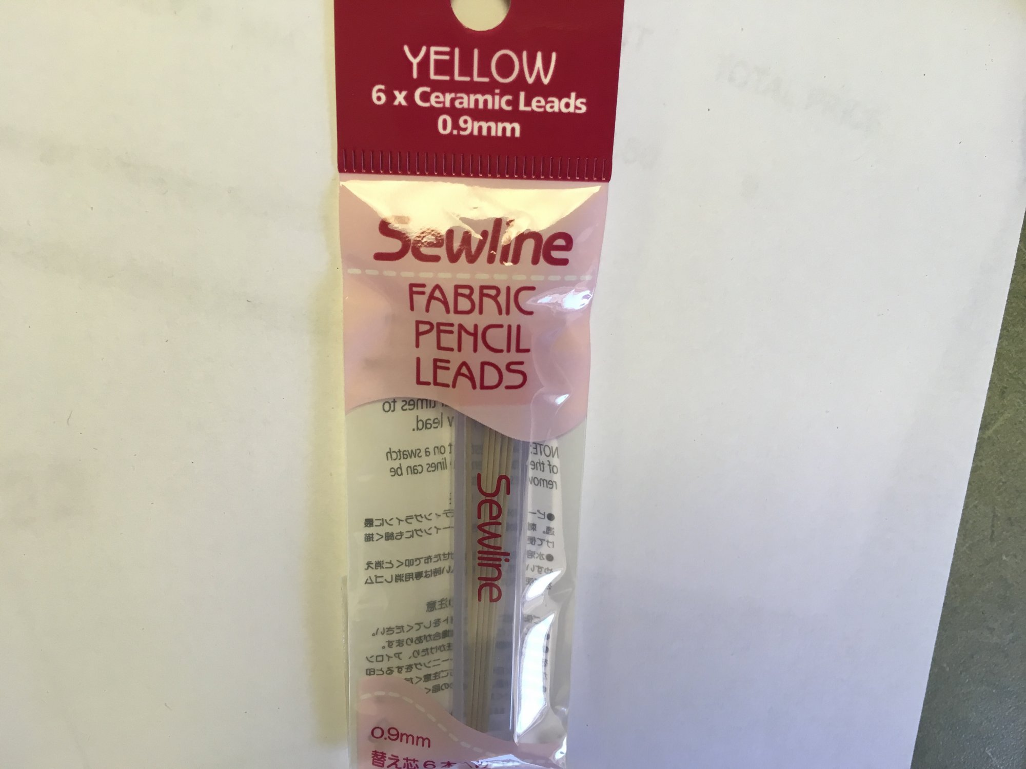 Fabric Pencil Refills .9mm Lead Yellow FAB50008 by Sewline