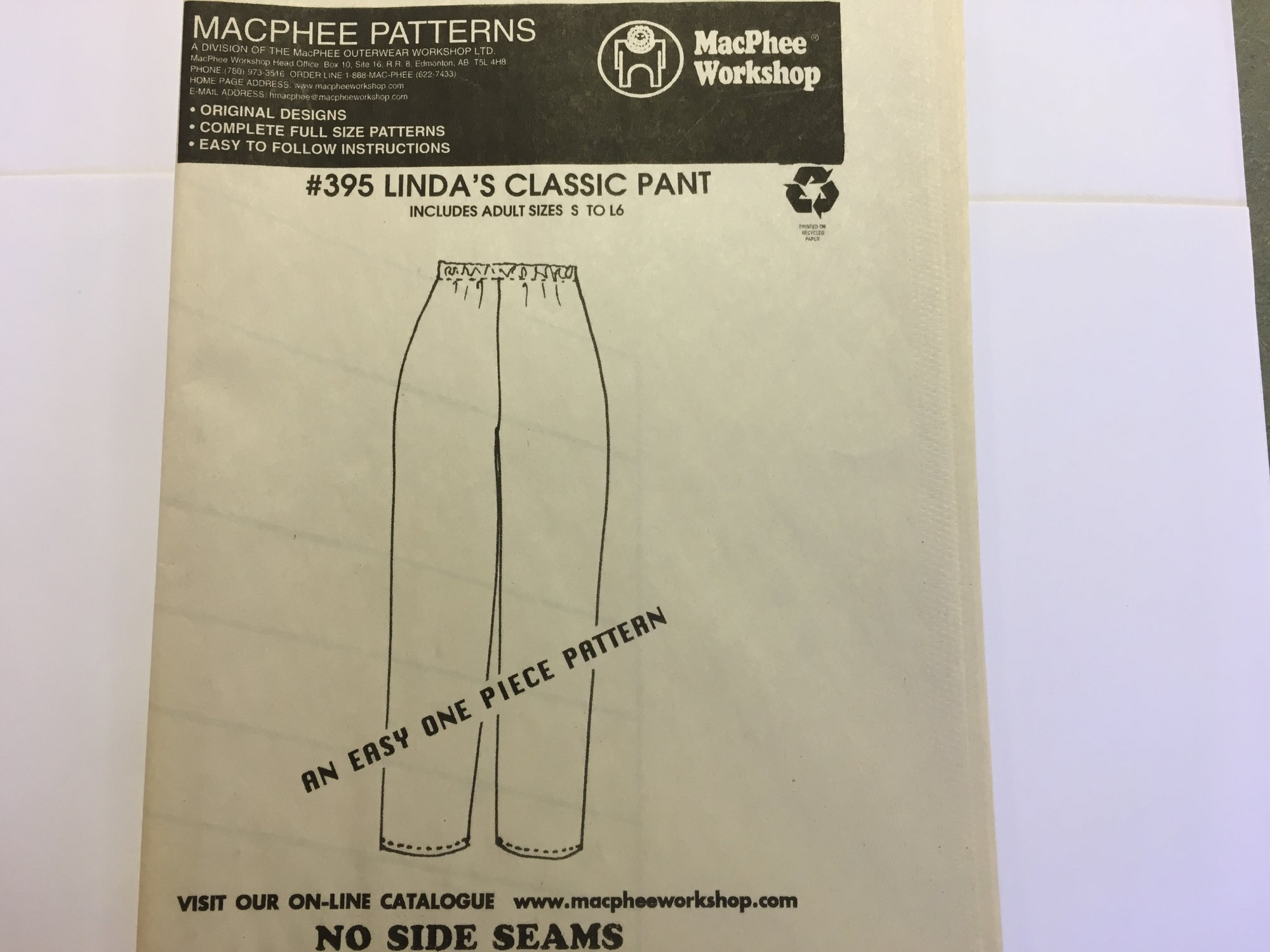 395 LINDAS CLASSIC PANT by MacPhee Patterns