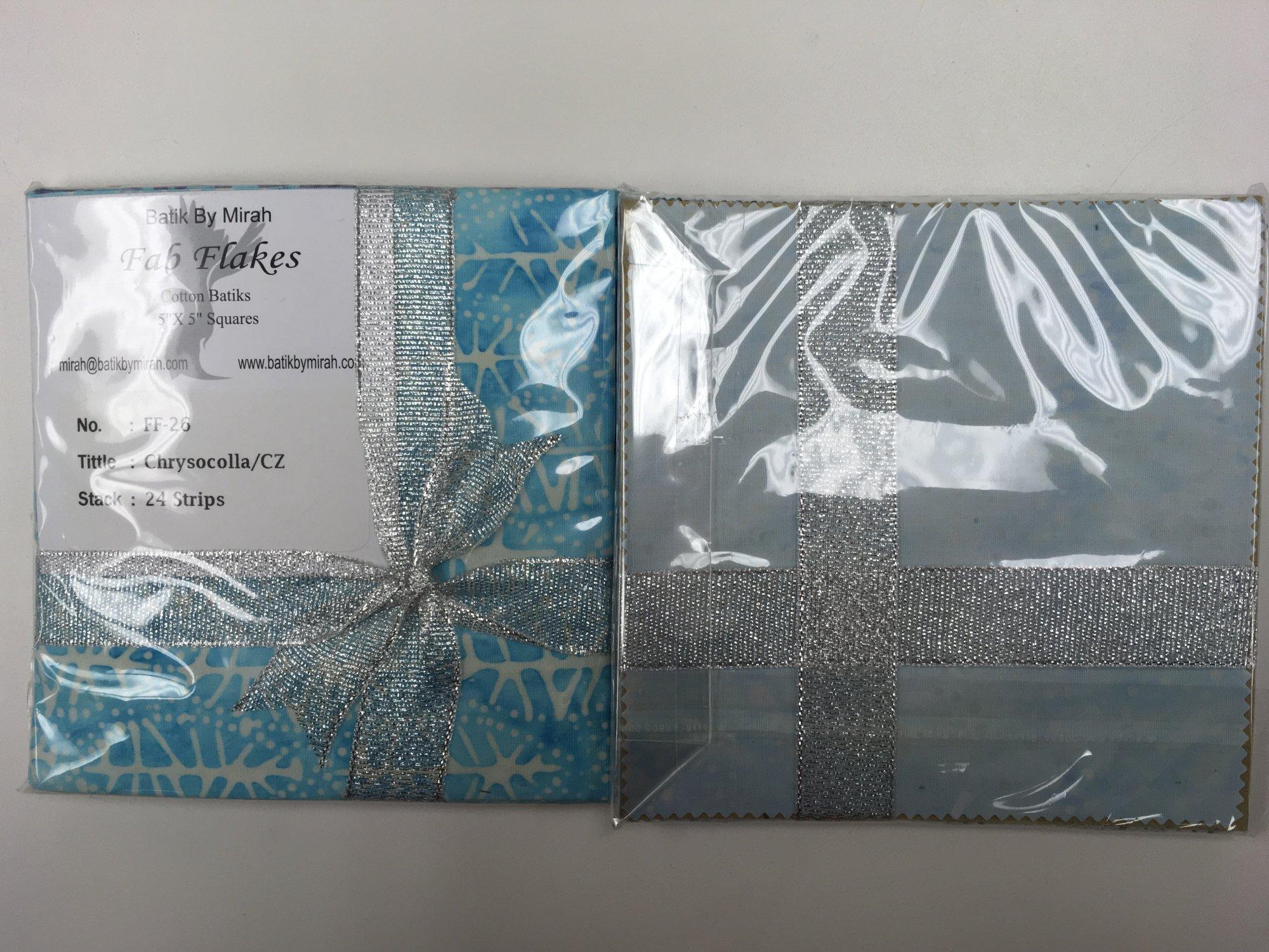 BATIK CHRYSOCOLLA FAB FLAKES 5 in Squares 24/pack FF26 Batik by Mirah - copy