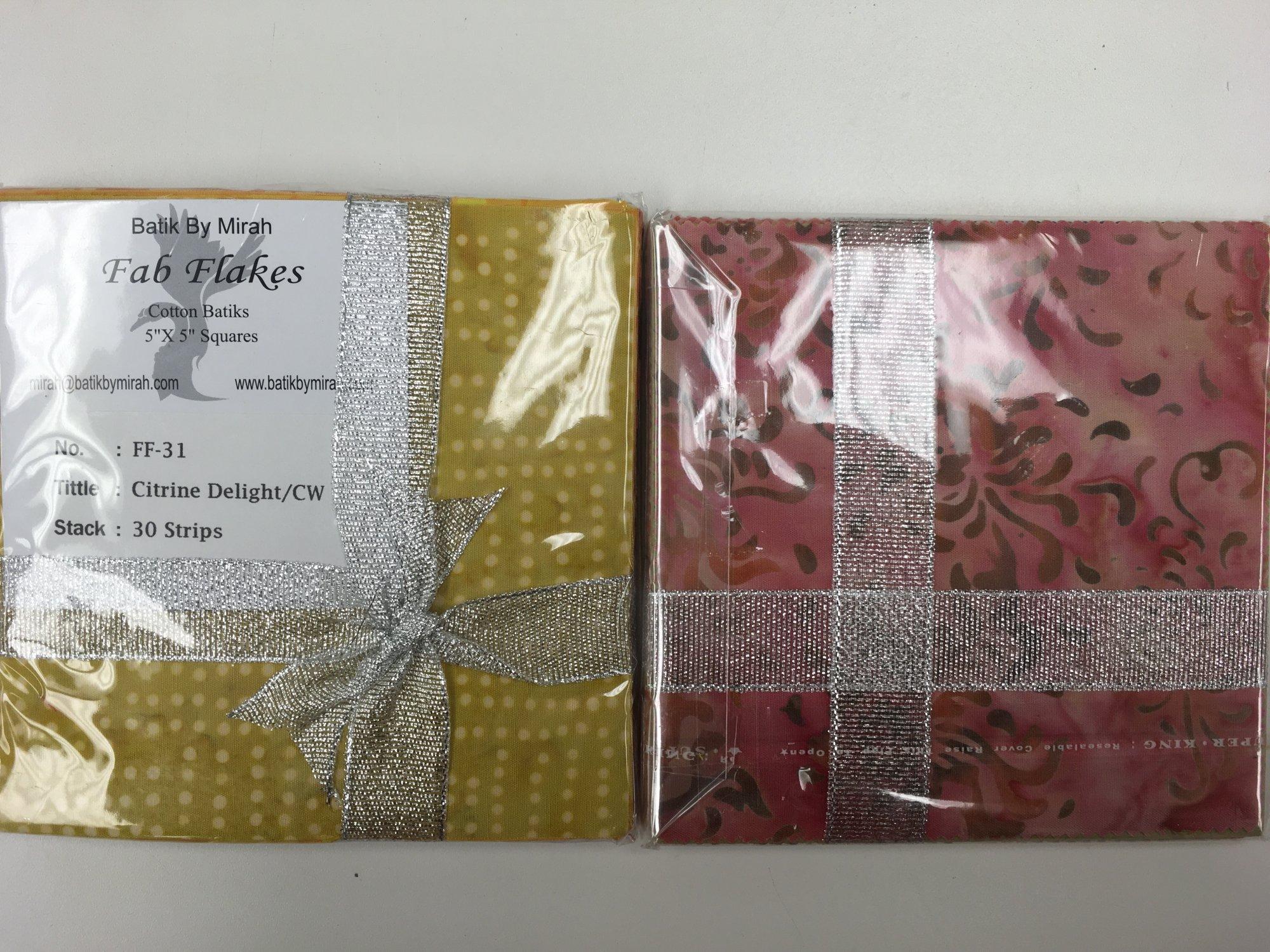 BATIK CITRINE DELIGHT FAB FLAKES 24/pack 5 inch Squares FF31 Batik by Mirah