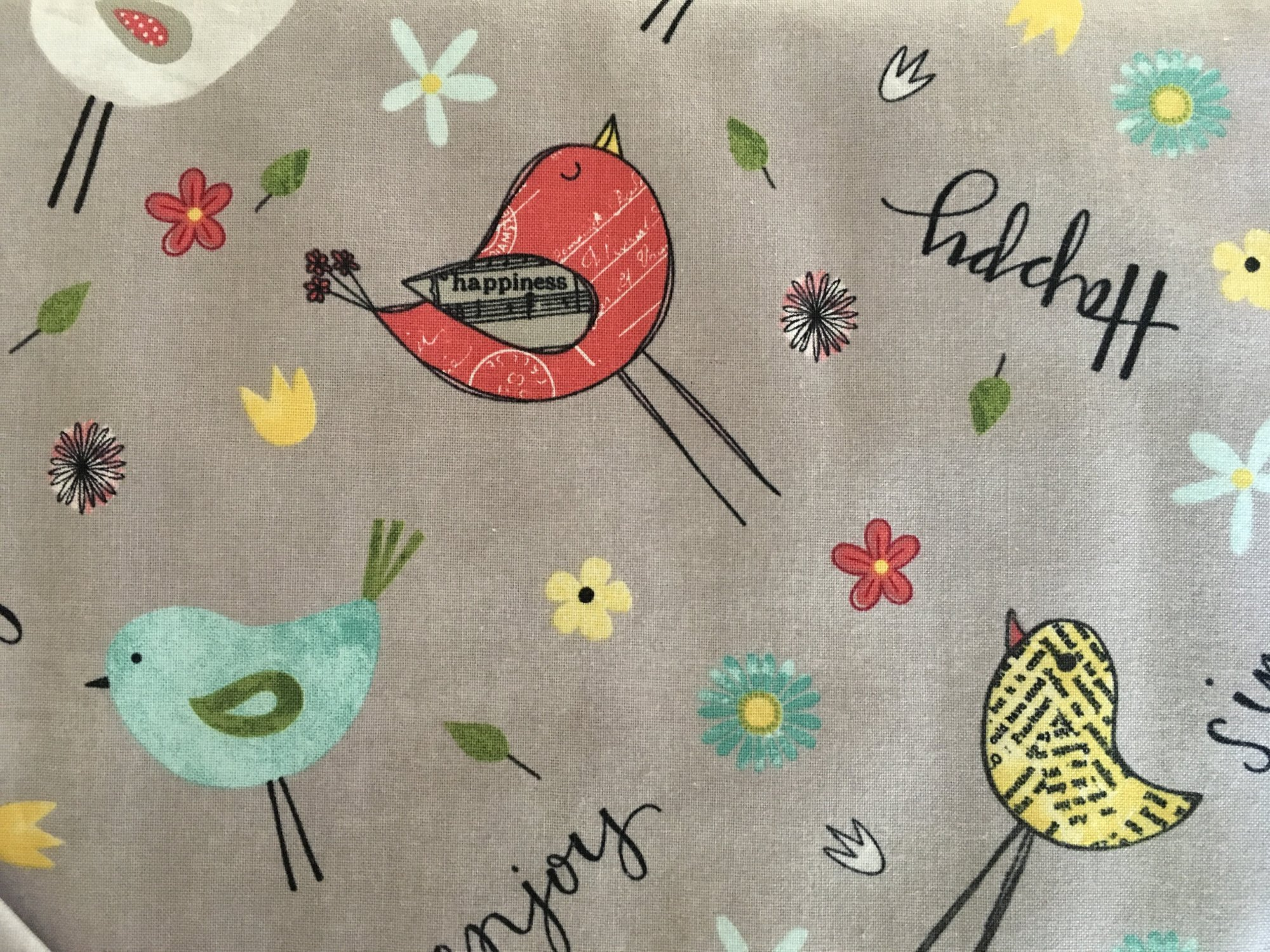 ON THE ROAD AGAIN SINGING BIRDS GREY 54504935 Wilmington Prints