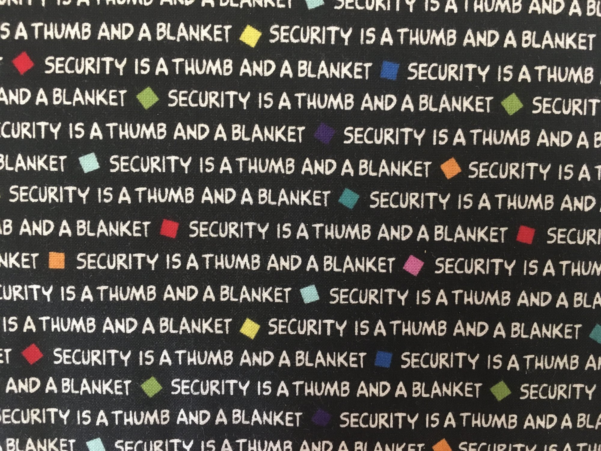 PROJECT LINUS-SECURITY IS A THUMB AND A BLANKET 22325J Quilting Treasures QT