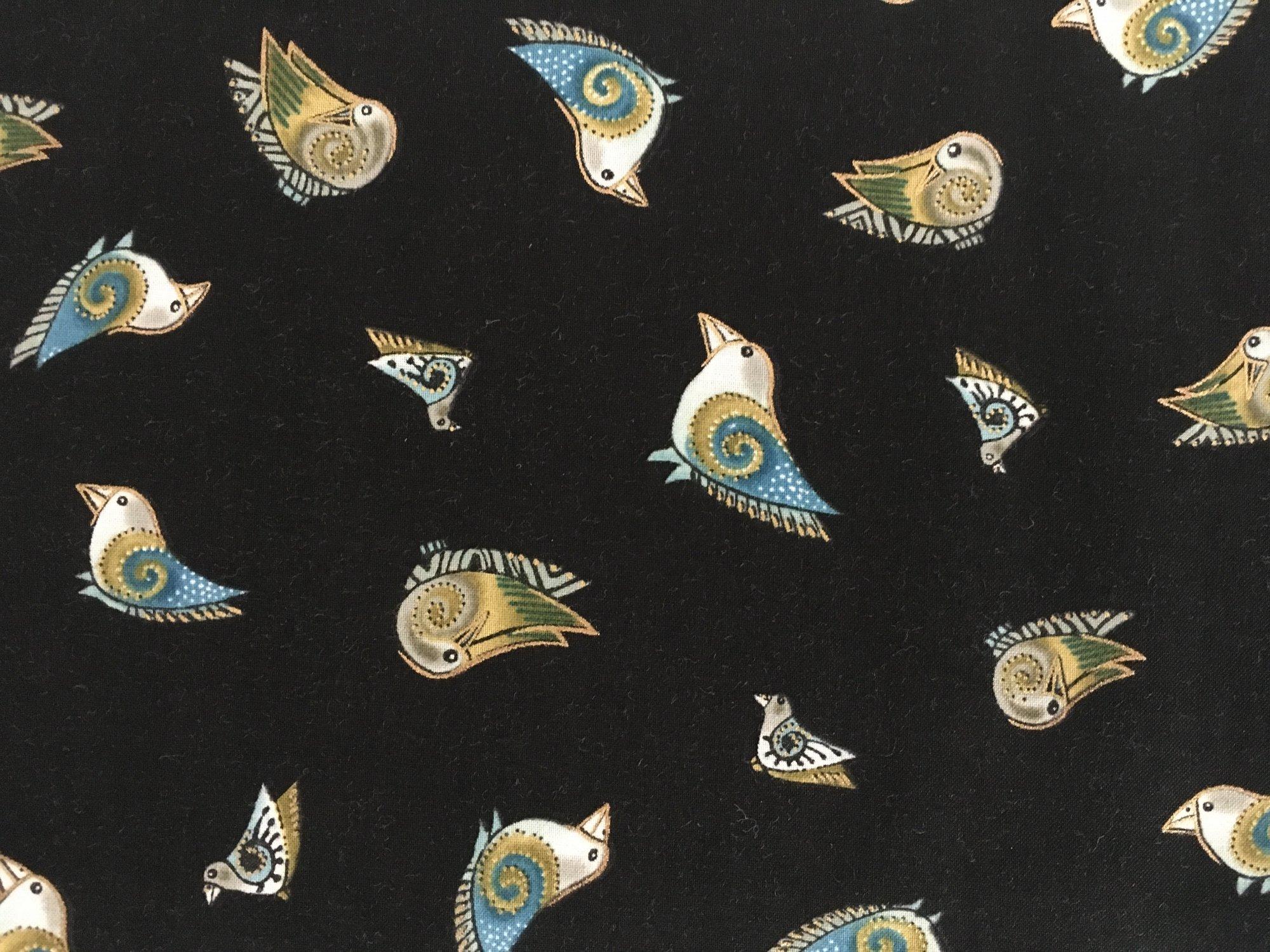 EMBRACING HORSES BLUE BIRDS ON BLACK METALLIC Y15363M Clothworks