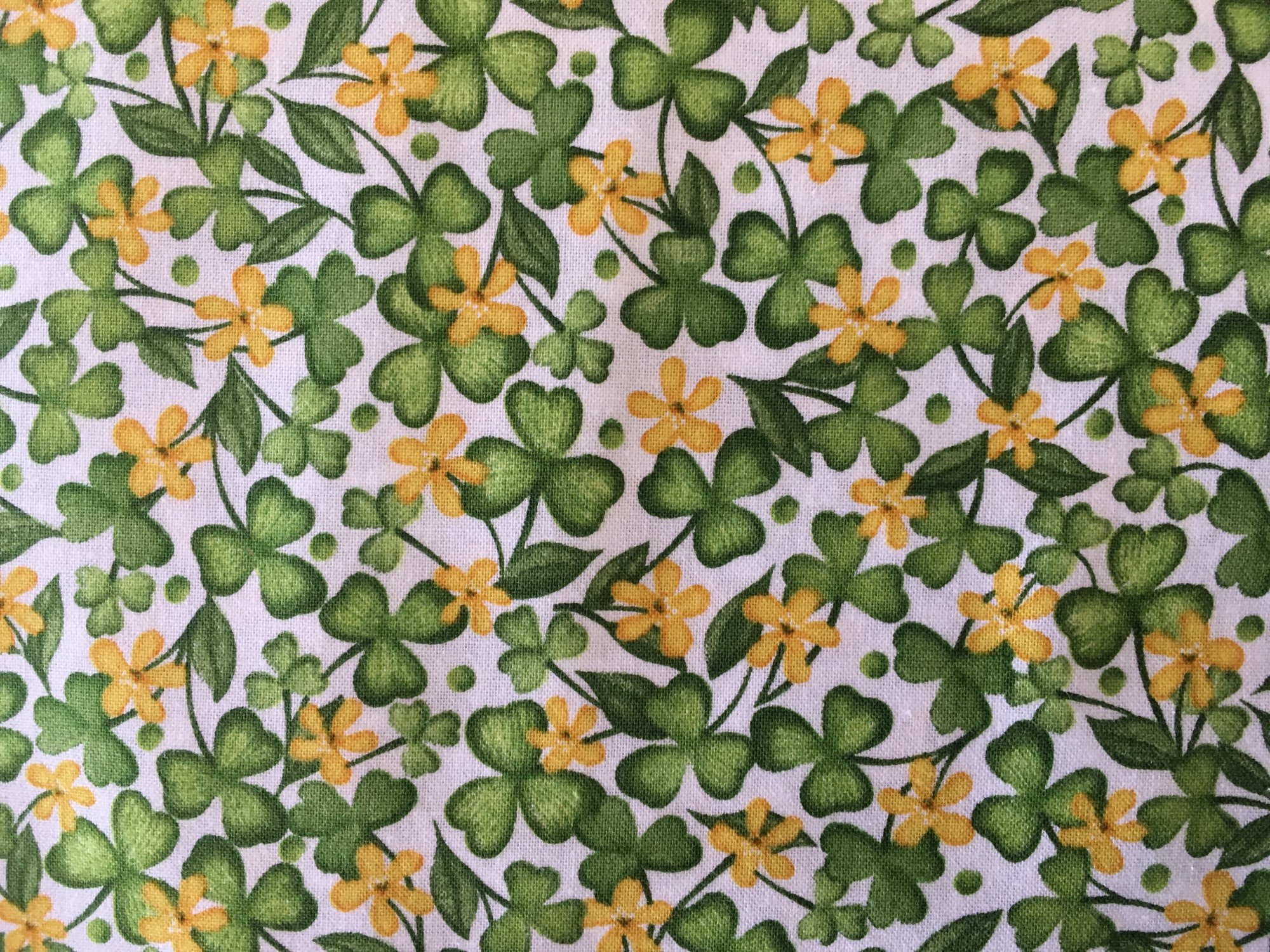 LUCKY SHAMROCKS WHITE 24221Z Quilting Treasures QT