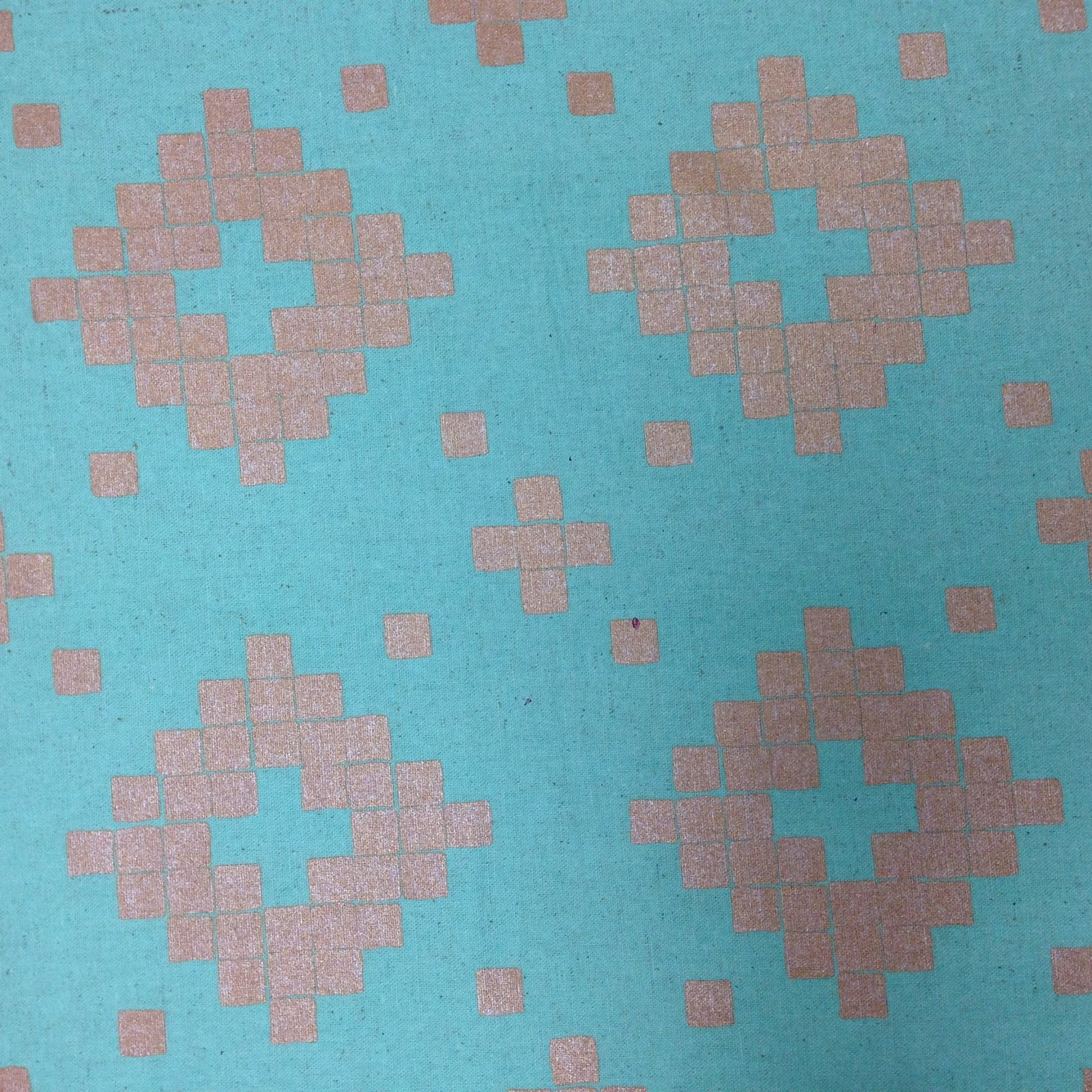 Blue with Silver Motif Linen by RJR