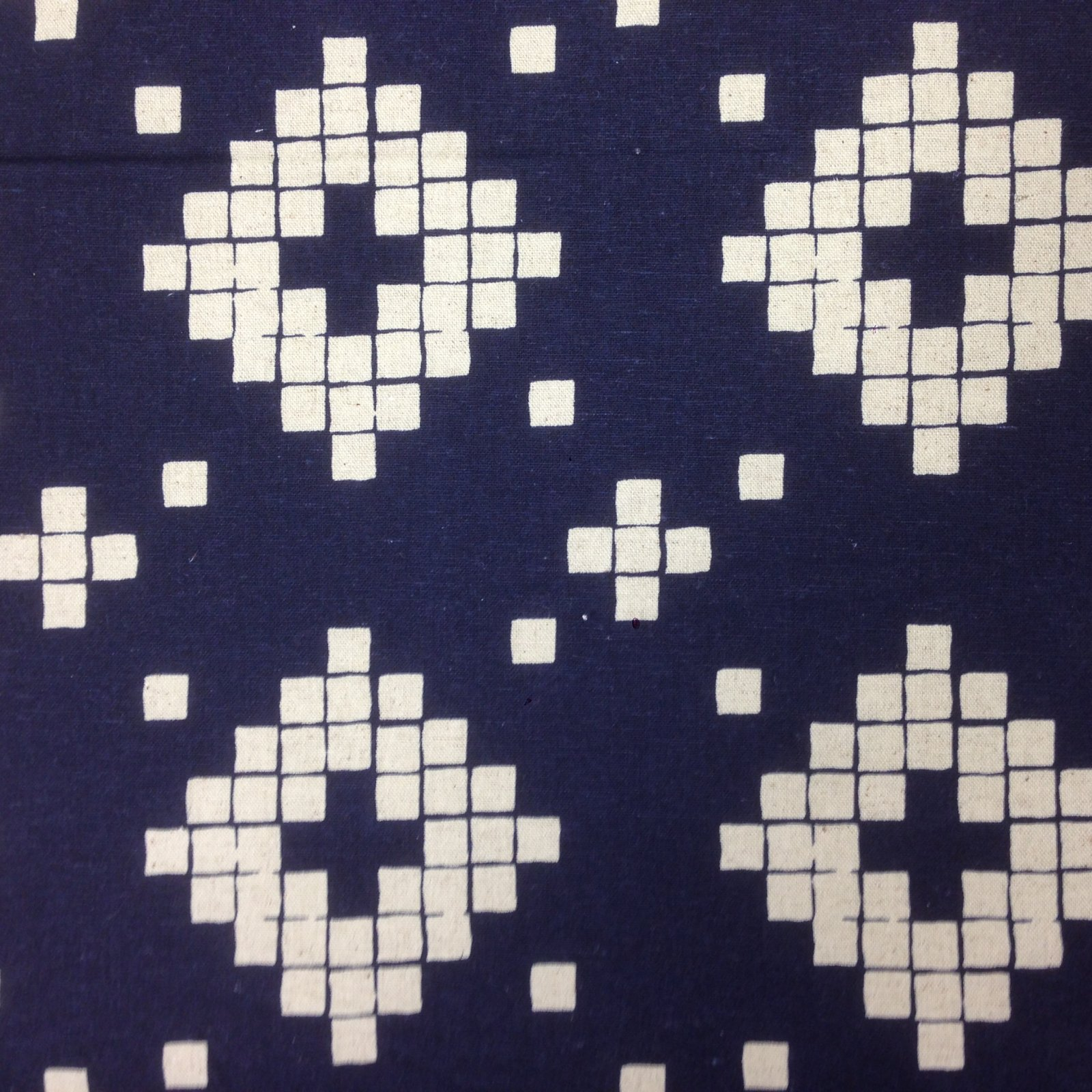 Navy Blue with Natural Linen Colored Motif Linen by RJR
