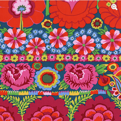 Embroidered Flower Border PWKF001Red