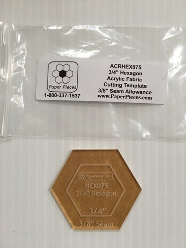 3/4 Hexagon w/ 3/8 Seam Allowance Acrylic Template