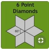 1 1/2 6 Point Diamonds Acrylic Fabric Cutting Template
