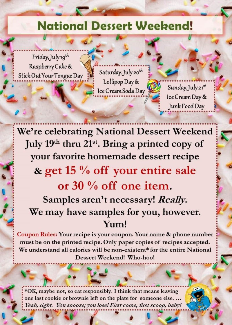National Dessert Weekend Sale