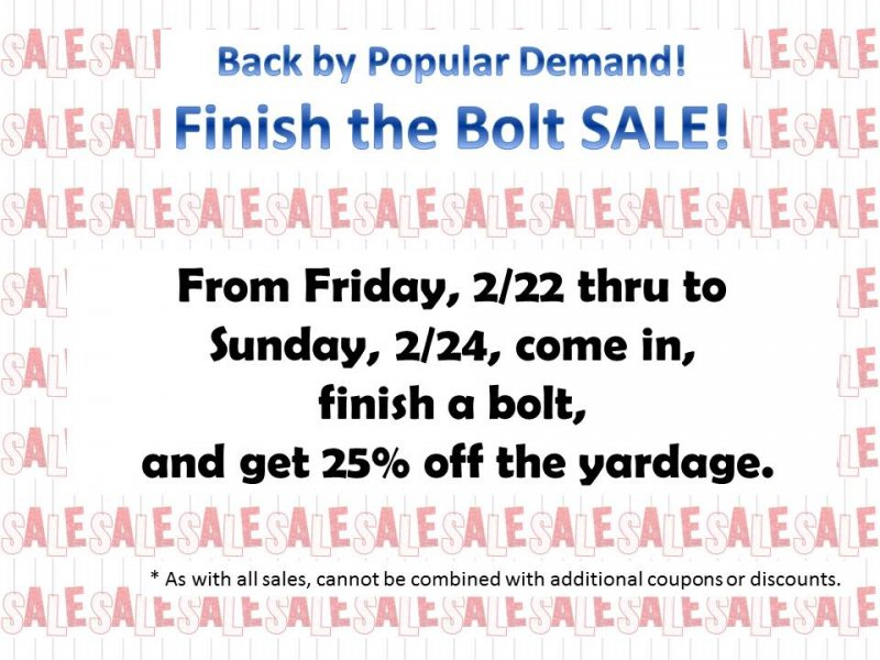 Finish the Bolt Sale