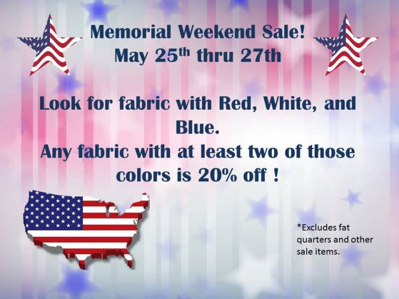 Memorial day Sale for May 25 - 27
