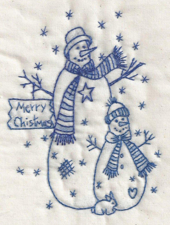 Christmas Snowman Bluework