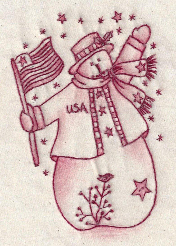 USA Snowman Redwork