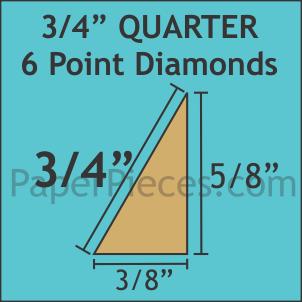 3/4 6 Point Diamond w/ 3/8 Seam Allowance Template