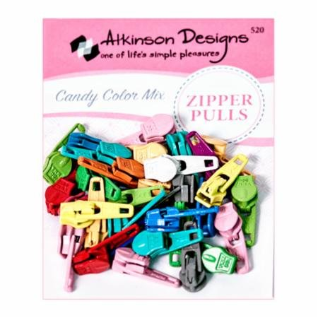 Zipper Pulls Candy Clr Mix 30ct