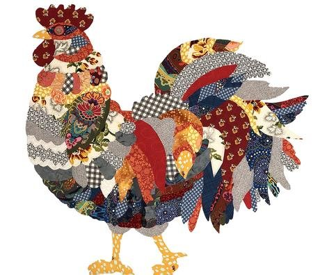 Rooster Collage Pattern