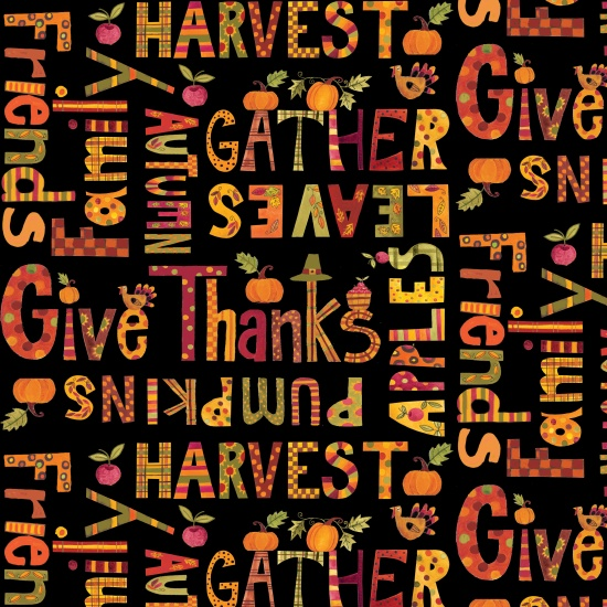Give Thanks Words Black B-8568-99