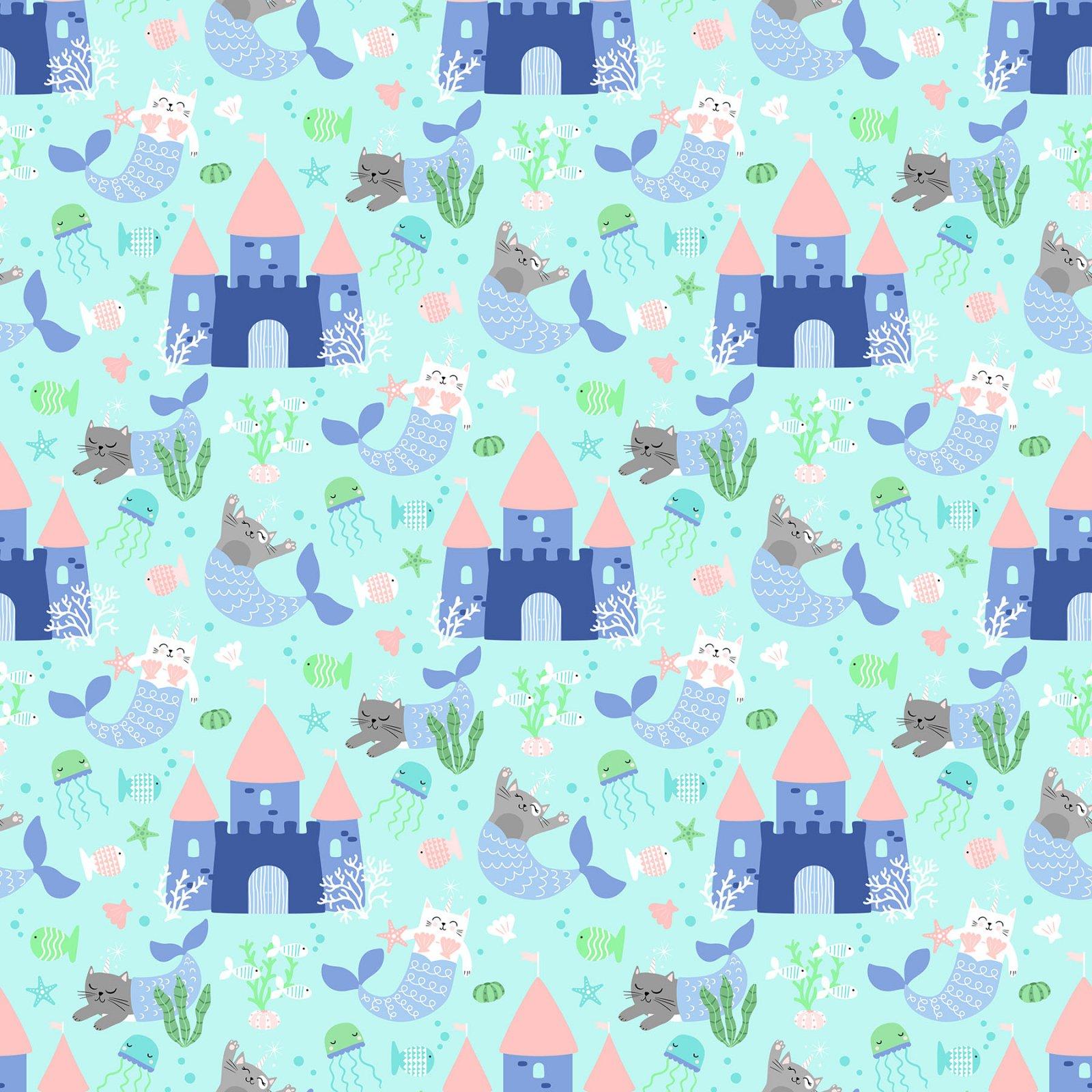 Mermaid Kitties Lt Aqua Castles
