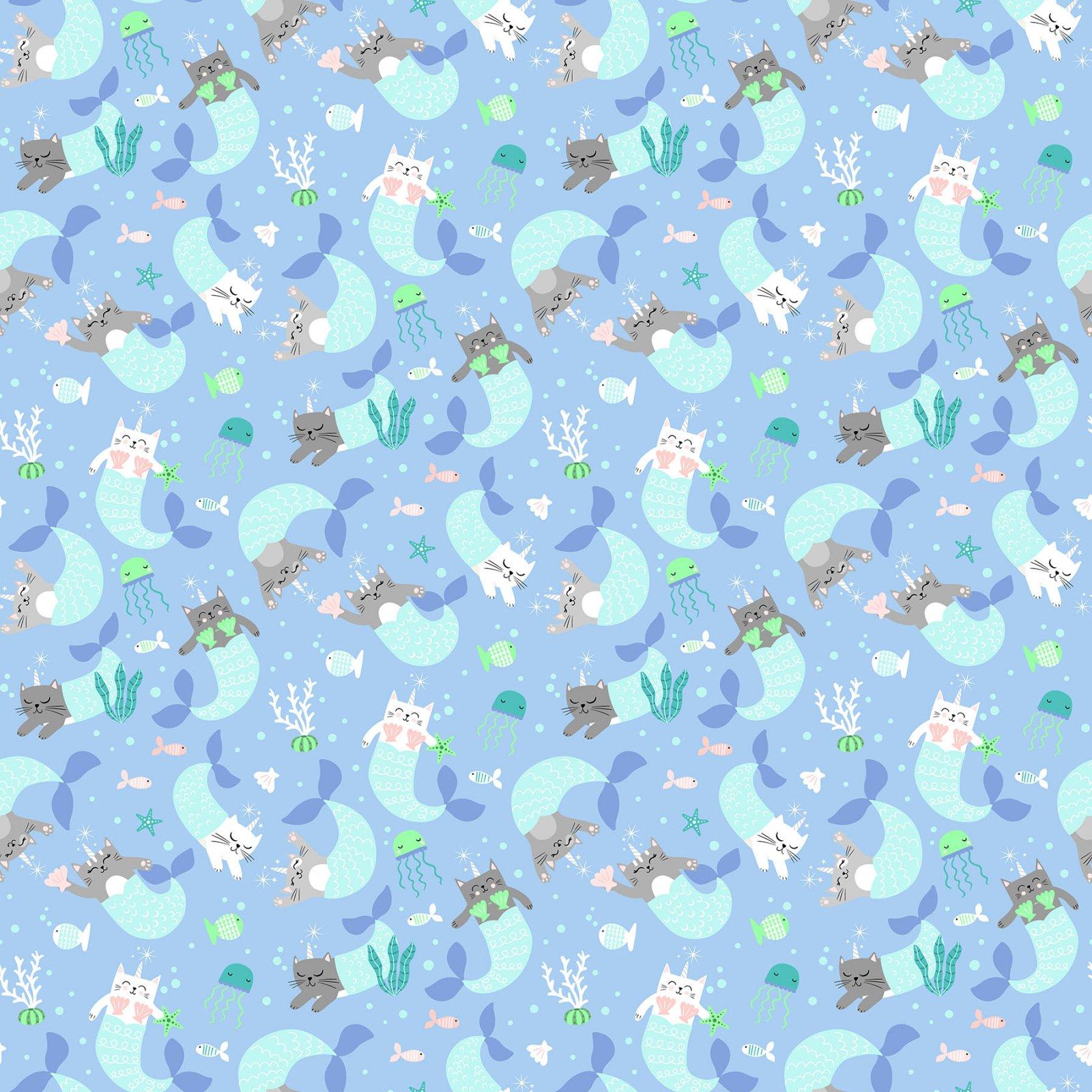 Mermaid Kitties Lt Blue Kitties