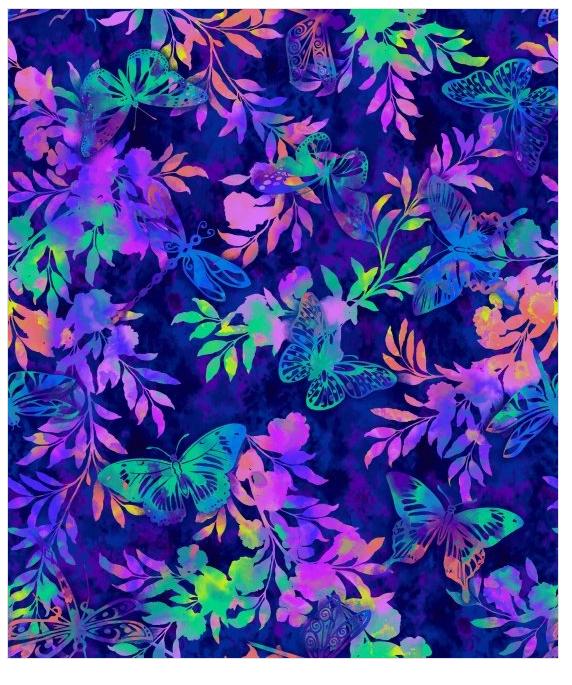 AFlutter Butterfly & dragonfly fern watercolor Indigo 3911-77