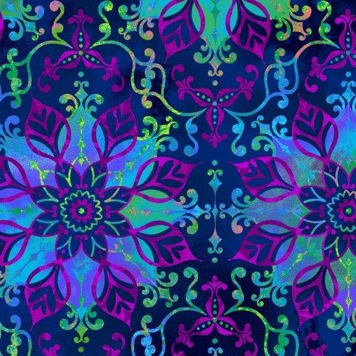 AFlutter Floral Medallion Indigo 3914 77
