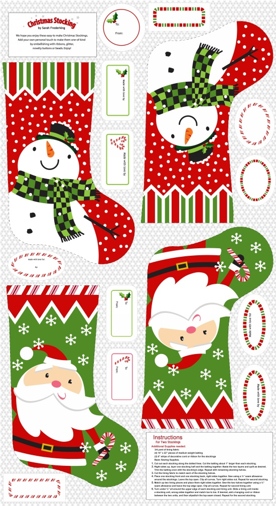 A Christmas Wish Stocking Panel E-3723P-88