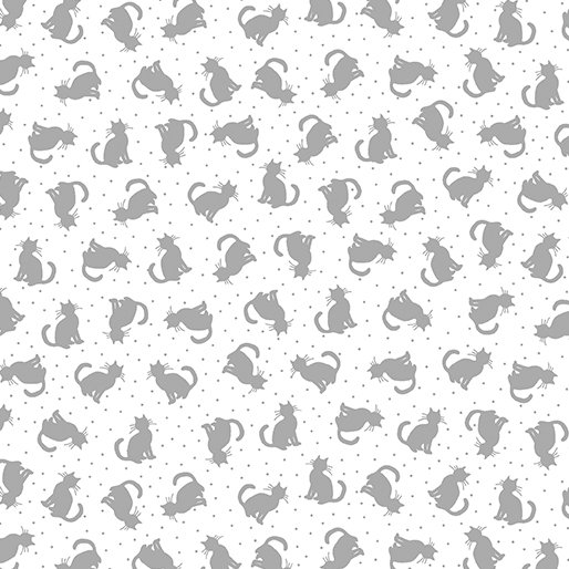 Tonal Cats White/Gray Better Basics 07807 08B