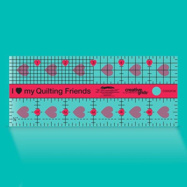 Creative Grids I Love My Quilt Friends Mini Quilt Ruler 2-1/2in x 6in CGRQF26