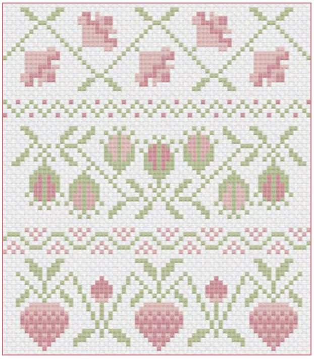 Pink Band Sampler Cross Stitch Free Digital Download
