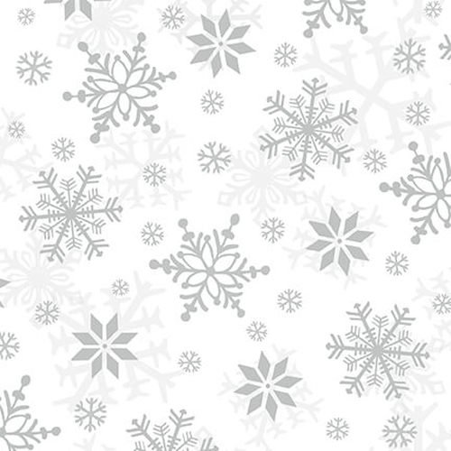 Snowflakes White/Gray Winter Whimsey Flannel 1624 9