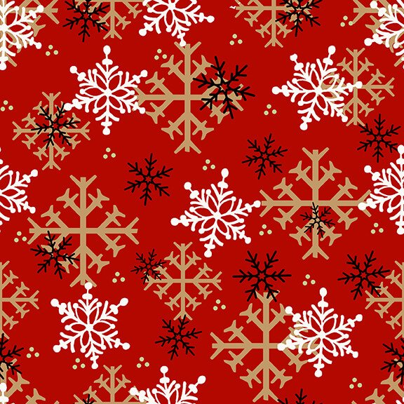 Flannel Gnomes Snowflake Red 9268 88