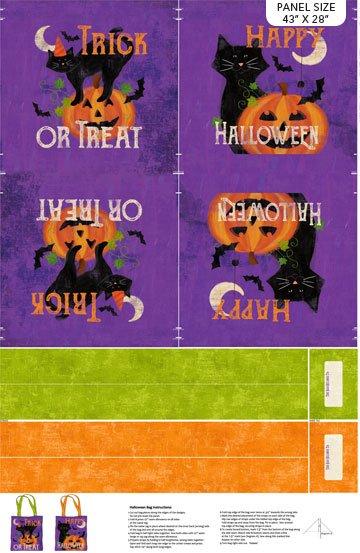Festive Felines Bags 28 Digitally Printed Canvas Panel Purple Multi
