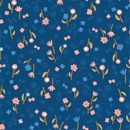 Neko and Tori Flower Picking Blue Rayon IN103 BL4R